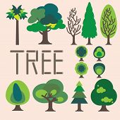image of planting trees  - Collection of simple graphic trees - JPG