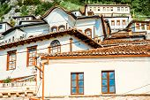 stock photo of albania  - Houses in city of Berat in Albania - JPG