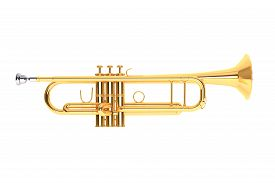 picture of wind instrument  - Polished Brass Trumpet on a white background - JPG