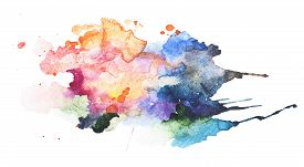 picture of rusty-spotted  - Abstract watercolor aquarelle hand drawn blot colorful yellow orange paint splatter stain - JPG