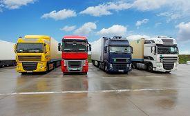 stock photo of trucks  - Trucks in warehouse  - JPG