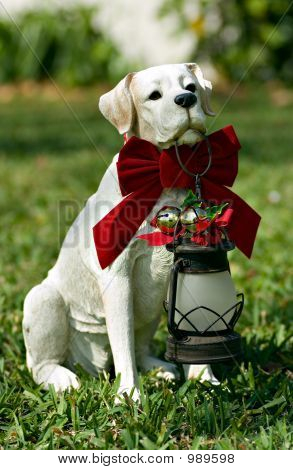 Picture or Photo of Series of dog photos with santa bows (this dog is an ornament)