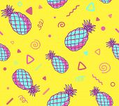 Постер, плакат: Vector Illustration Of Pink And Blue Pattern With Pineapples On Yellow Background