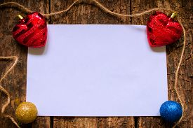 stock photo of letters to santa claus  - the layout for the letter to Santa Claus with Christmas toys - JPG