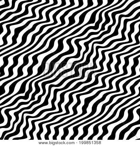 poster of Vector monochrome texture, seamless pattern with abstract curved lines. Visual effect of 3D surface, illusion of movement. Dynamical diagonal waves. Stylish repeat design pop art style. 3D pattern, zigzag pattern, zebra pattern, design pattern.