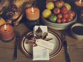 Table Napkin Turkey Thanksgiving Celebration Table Setting Concept poster