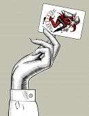 Hand of woman holding Joker playing card. Casino game retro concept design. Vintage engraving styliz poster
