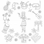 Постер, плакат: Vector Hand Drawn Hawaii Icons