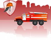 foto of armorial-bearings  - vector color illustration of  fire apparatus - JPG