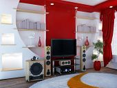 image of televisor  - Interior with a home theater  - JPG