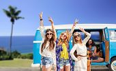 summer holidays, road trip, travel and people concept - happy young hippie friends showing peace han poster