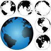 image of eastern hemisphere  - A set of 5 silhouette globes views of the earth - JPG