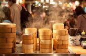 Steam from Bamboo steamer in market