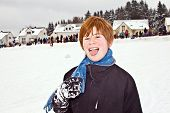 Boy With Red Hair Enjoying   The Snow