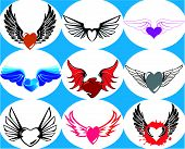 026Wingedheart9.Epsnine Brand New Hearts On The Wings. Vector Illustration. poster