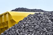 Heap of raw materials crushed stones poster