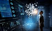 Innovative technologies integration. Mixed media poster