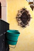 stock photo of taxco  - Typical balcony and pot in the mexican silver town of Taxco - JPG