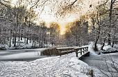 foto of rayon  - Winter landscape with a wooden bridge at sunset - JPG