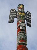 Detail, Totem Pole Carved From Cedar