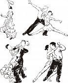 Постер, плакат: Бальные танцы силуэты