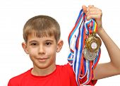 Boy-athlete With Medals