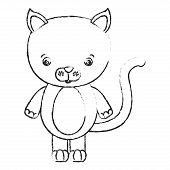 blurred silhouette caricature cute cat animal vector illustration