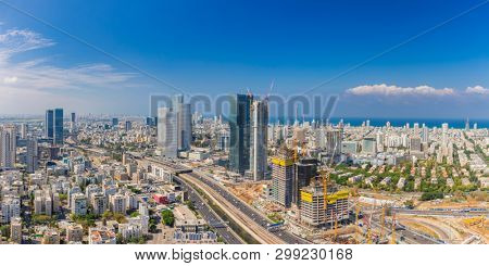 poster of Extra large Panorama Of Tel Aviv Skyline,  Tel Aviv Cityscape Large Panorama At Day, Israel