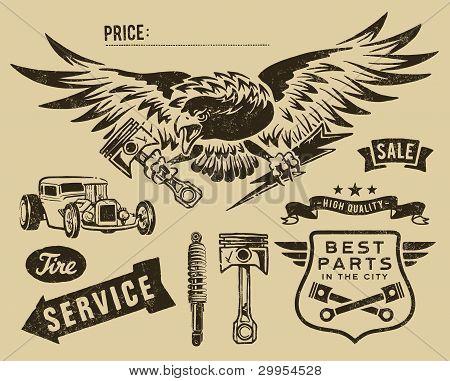 Vintage eagle and automoto partsVintage