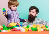 Spending Time With Family. Small Boy With Dad Playing Together. Love. Child Development. Happy Famil poster