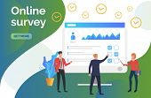 People At Computer Monitor With Survey. Online Test, Coaching, E-learning. Online Survey Concept. Ve poster