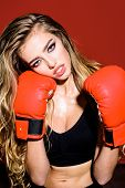 Sportwoman With Boxing Gloves. Fitness. Healthy Lifestyle. Boxing Gloves. Boxing Girl. Sport. Wrestl poster