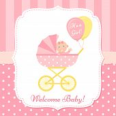 Baby Girl Invite Card. Vector. Baby Shower Banner. Pink Design Invitation. Cute Birth Party Backgrou poster