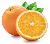 Orange fruits with orange leaves on white background. File contains clipping path. poster