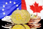Bitcoins On The Background Of The Flag European Union And Canada. Concept For Investors In Cryptocur poster