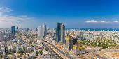 Extra large Panorama Of Tel Aviv Skyline,  Tel Aviv Cityscape Large Panorama At Day, Israel poster