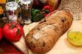 Olive Bread Loaf In Kitchen
