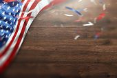 Creative Background, Wooden Background With American Flag, Usa Independence Day, American Flag. Inde poster