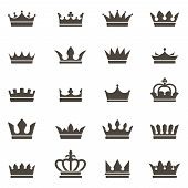 Crown Icons. Queen King Crowns Luxury Royal Crowning Princess Tiara Heraldic Winner Award Jewel Roya poster
