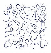 Doodle Arrows Set. Sketch Swirly Arrows Black Hand Drawn Curved Pointer Icons Isolated On White Back poster