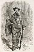 Paul Marcoy old engraved portrait, French explorer. By unidentified author, published on Le Tour du Monde, Paris, 1867
