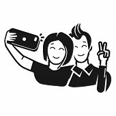 Guy With A Girl Take A Selfie Icon. Simple Illustration Of Guy With A Girl Take A Selfie Icon For We poster