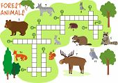 Animals Crossword. Forest Animals. Book Puzzle Crossword Game With Forest Animals Vector Illustratio poster