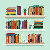 Three Bookshelves With Favorite Books, Watches, Flowers And Pencils. Concept Of Library. Vector Illu poster