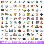 100 Different Professions Icons Set. Cartoon Illustration Of 100 Different Professions Icons Isolate poster