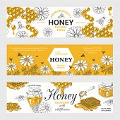 Honey Labels. Honeycomb And Bees Vintage Sketch Background, Hand Drawn Organic Food Retro Design. Ve poster