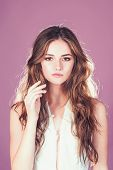 Woman On Pink Background In Summer Dress. Sexy Girl In White Dress With Stylish Hair. Wedding Fashio poster