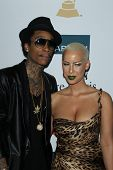 LOS ANGELES - FEB 11:  Wiz Khalifa; Amber Rose arrives at the Pre-Grammy Party hosted by Clive Davis