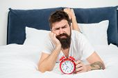 Hipster Bearded Man Lay In Bed With Alarm Clock. Time To Wake Up. Why You Should Wake Up Early Every poster