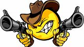 stock photo of wrangler  - Cowboy Smile Vector Image Aiming Guns Illustration - JPG
